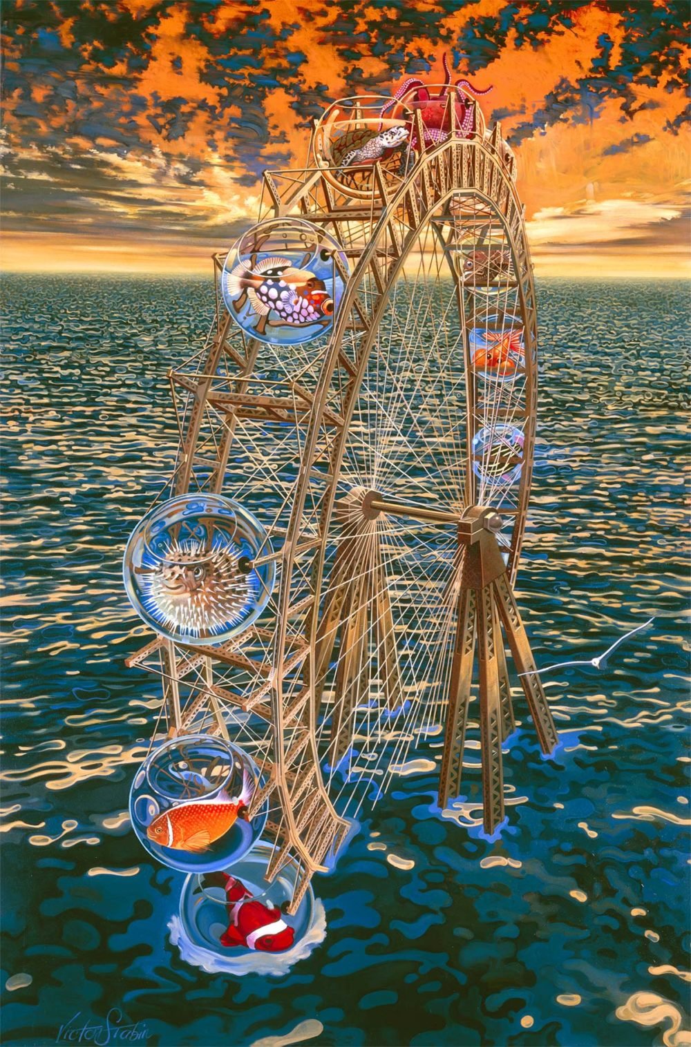 Fish Ferris Wheel Painting by Victor Stabin
