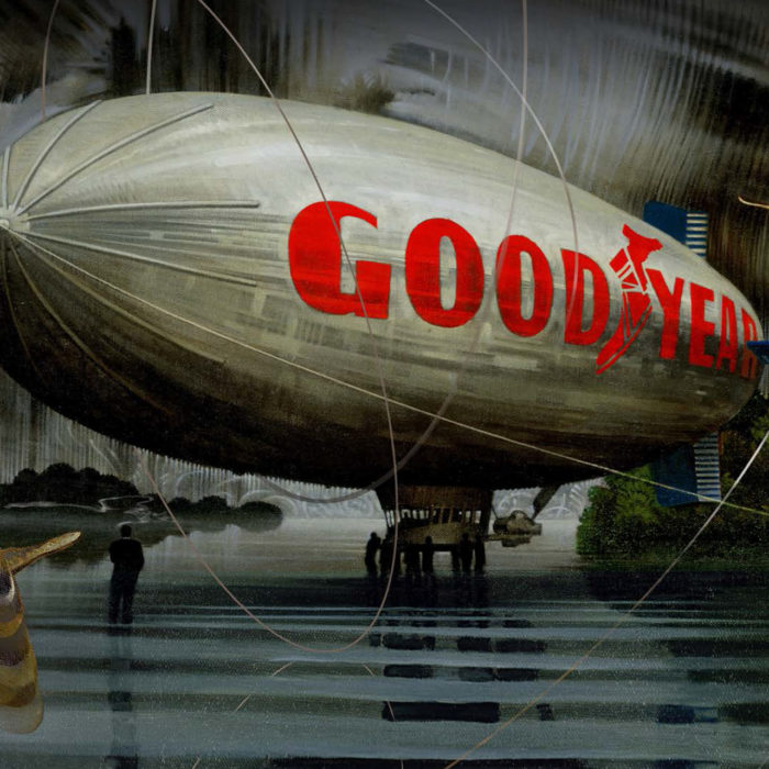 Untitled Blimp Landing #2 Painting by Victor Stabin